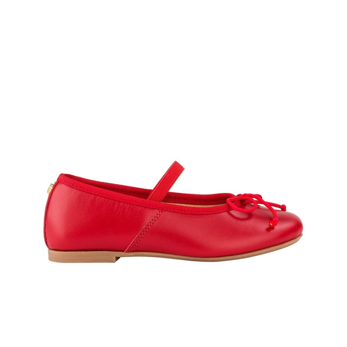 Toddler ballet flats in red leather with bow detail in cord.