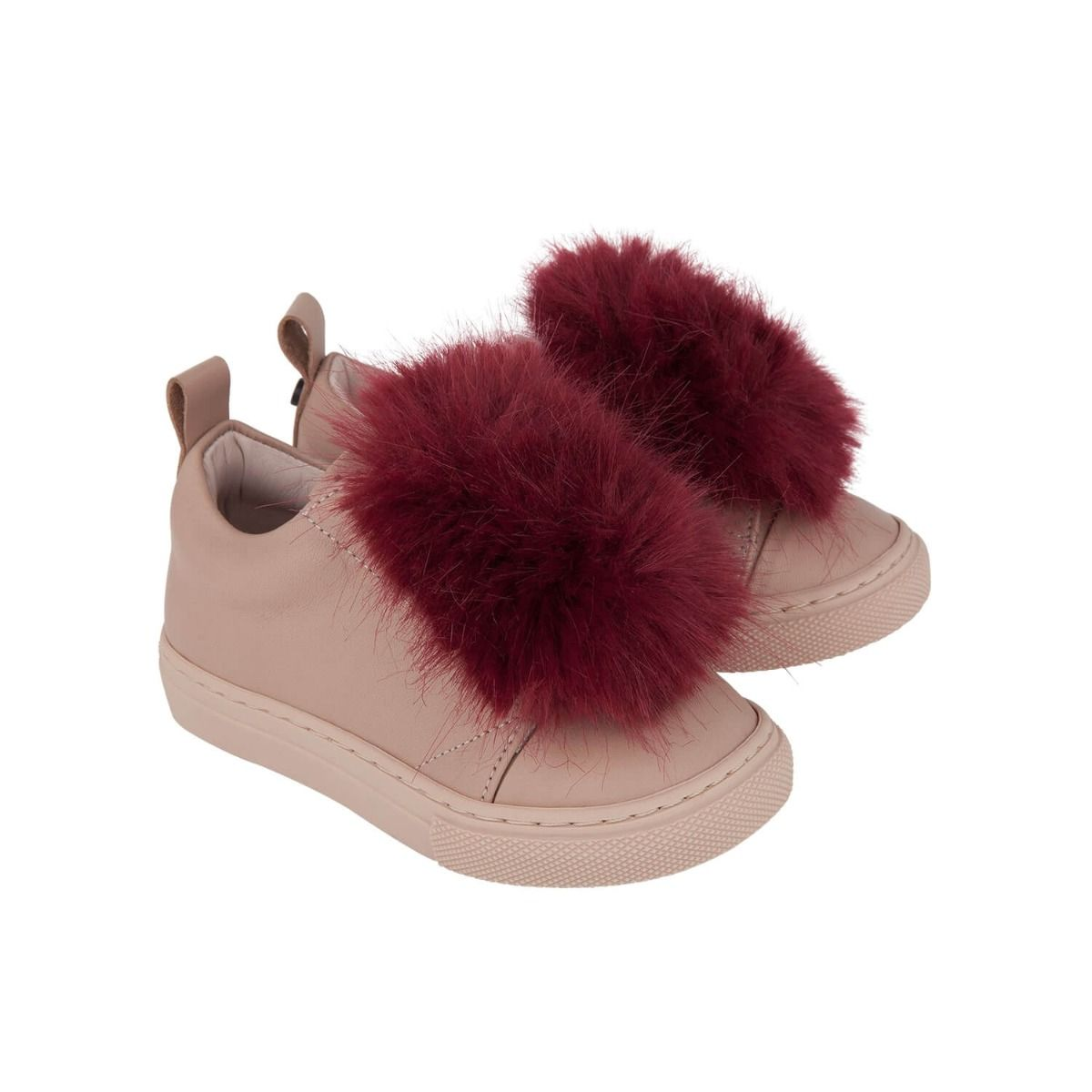 Baby and girl's sneakers in pale pink leather with dark red faux fur applique
