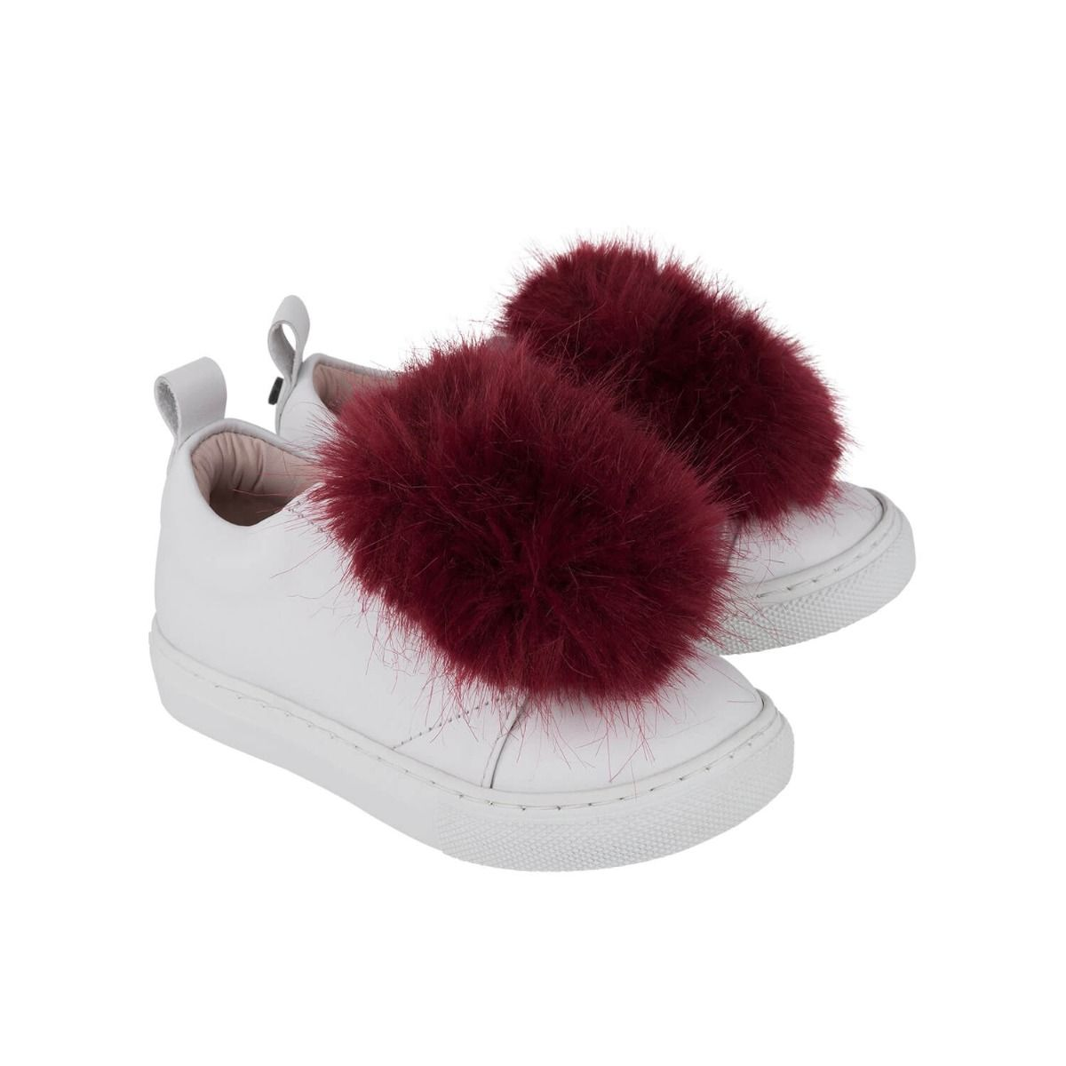 Baby and girl's sneakers in white leather with dark red faux fur applique.