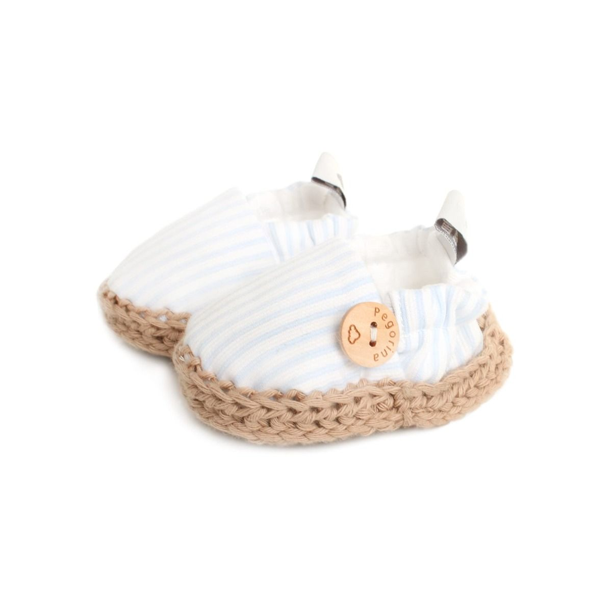 Light blue striped baby espadrille shoes with soft woven sole
