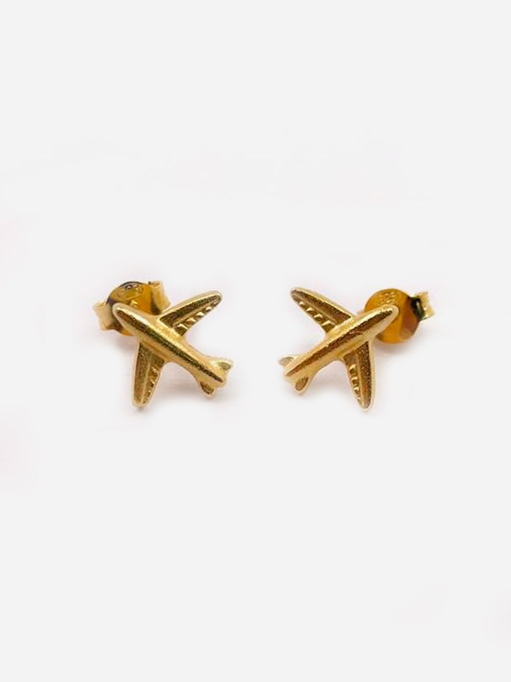 Gold Earrings Airplane   Made to Envy