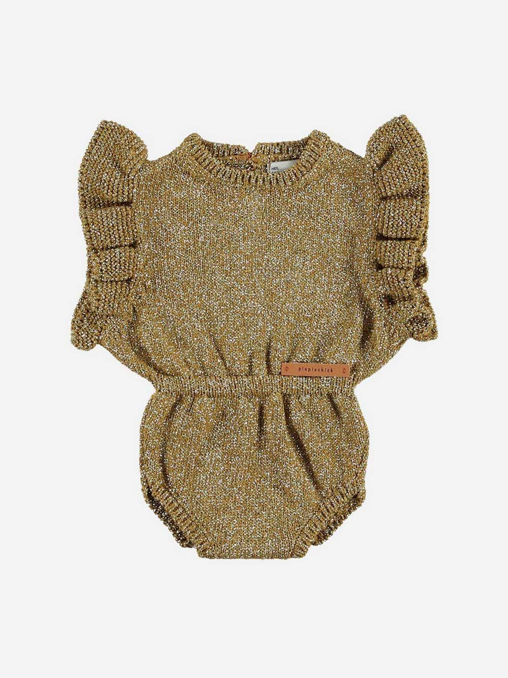 Baby Knitted Playsuit Golden