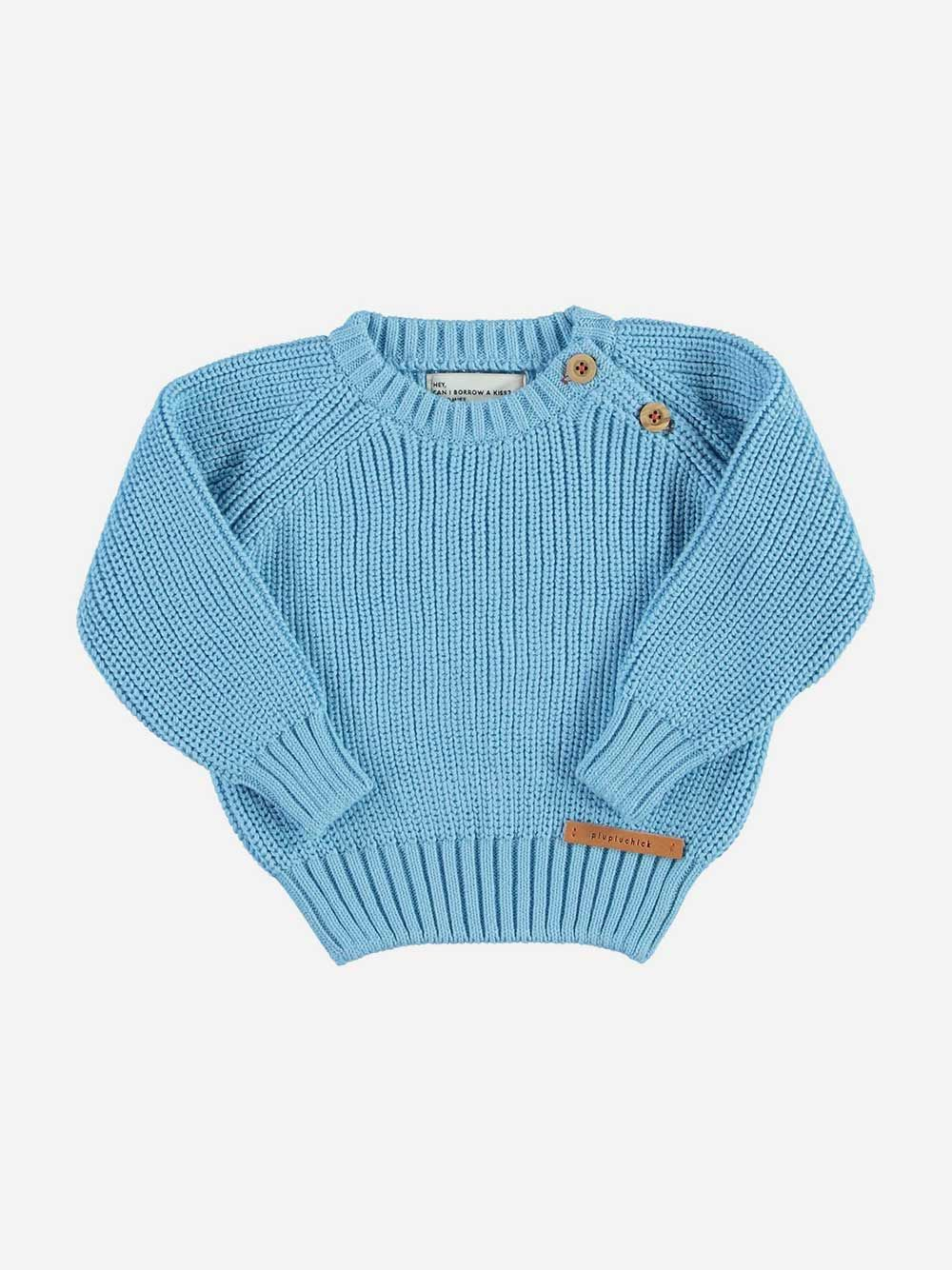 Baby Knitted Sweater Blue with Garnet