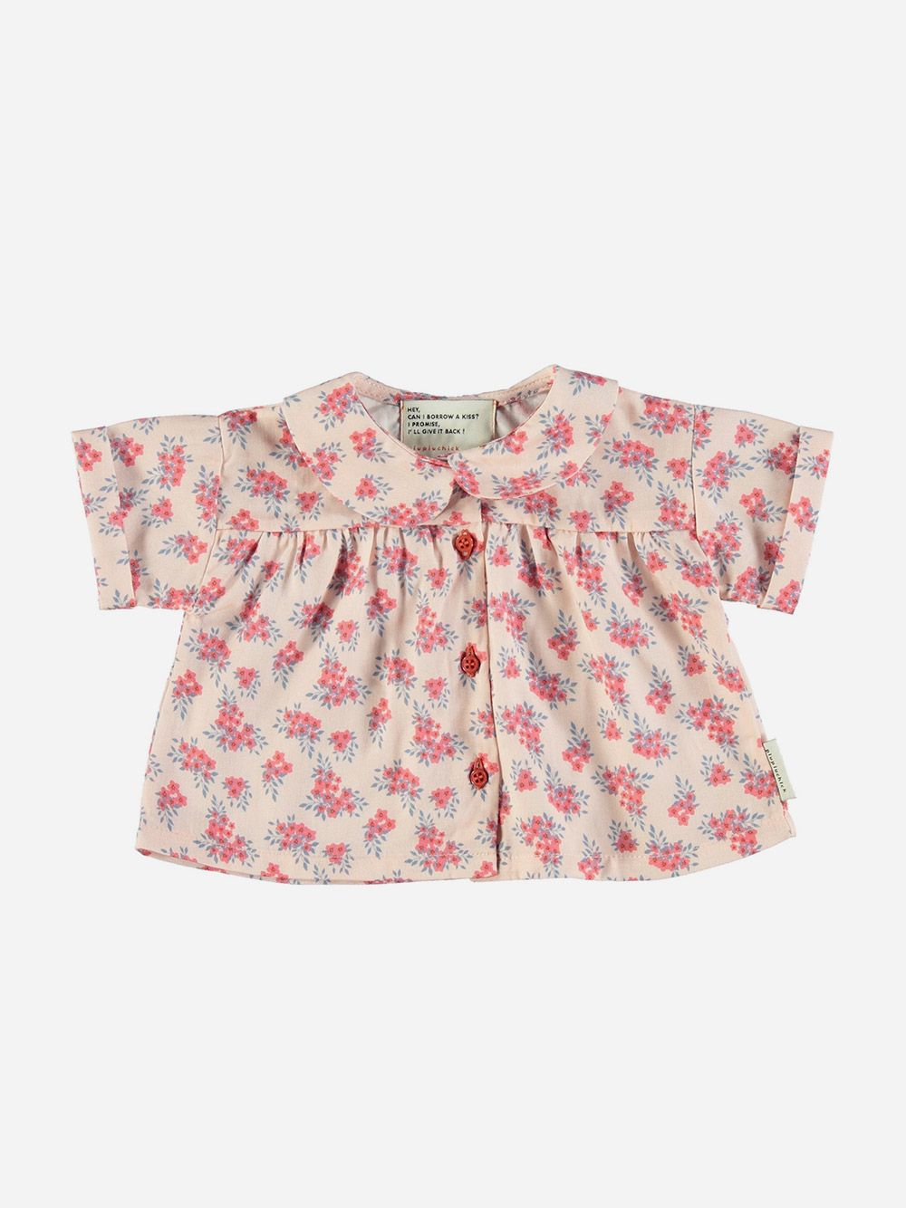 Baby Peter Pan shirt Pale Pink with Flowers