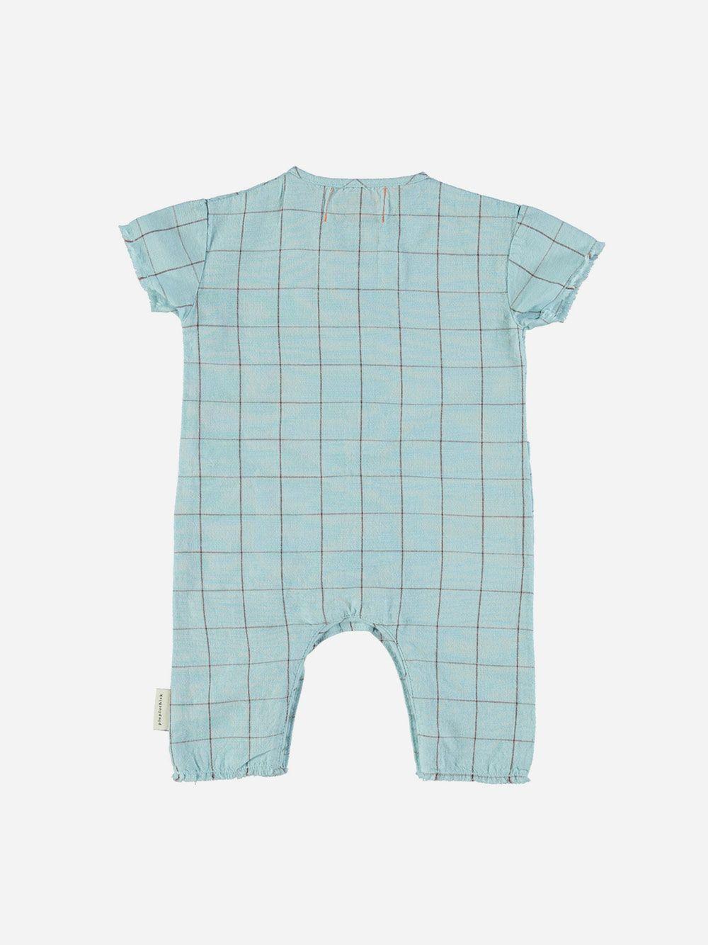Baby Jumpsuit Light Blue & Garnet Checkered