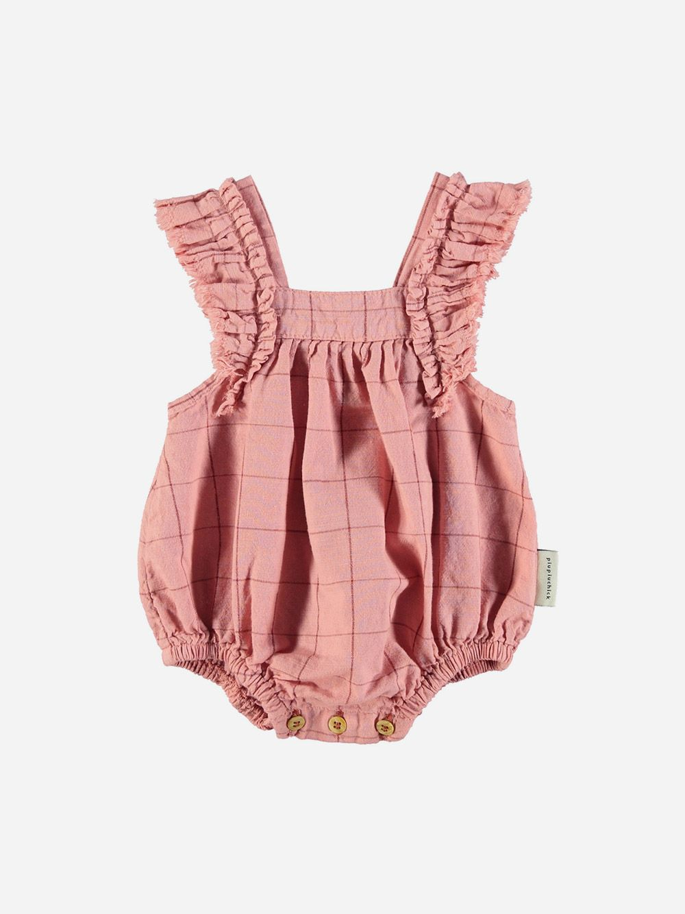 Baby Romper with Fringe Straps Vintage Pink & Garnet Checkered