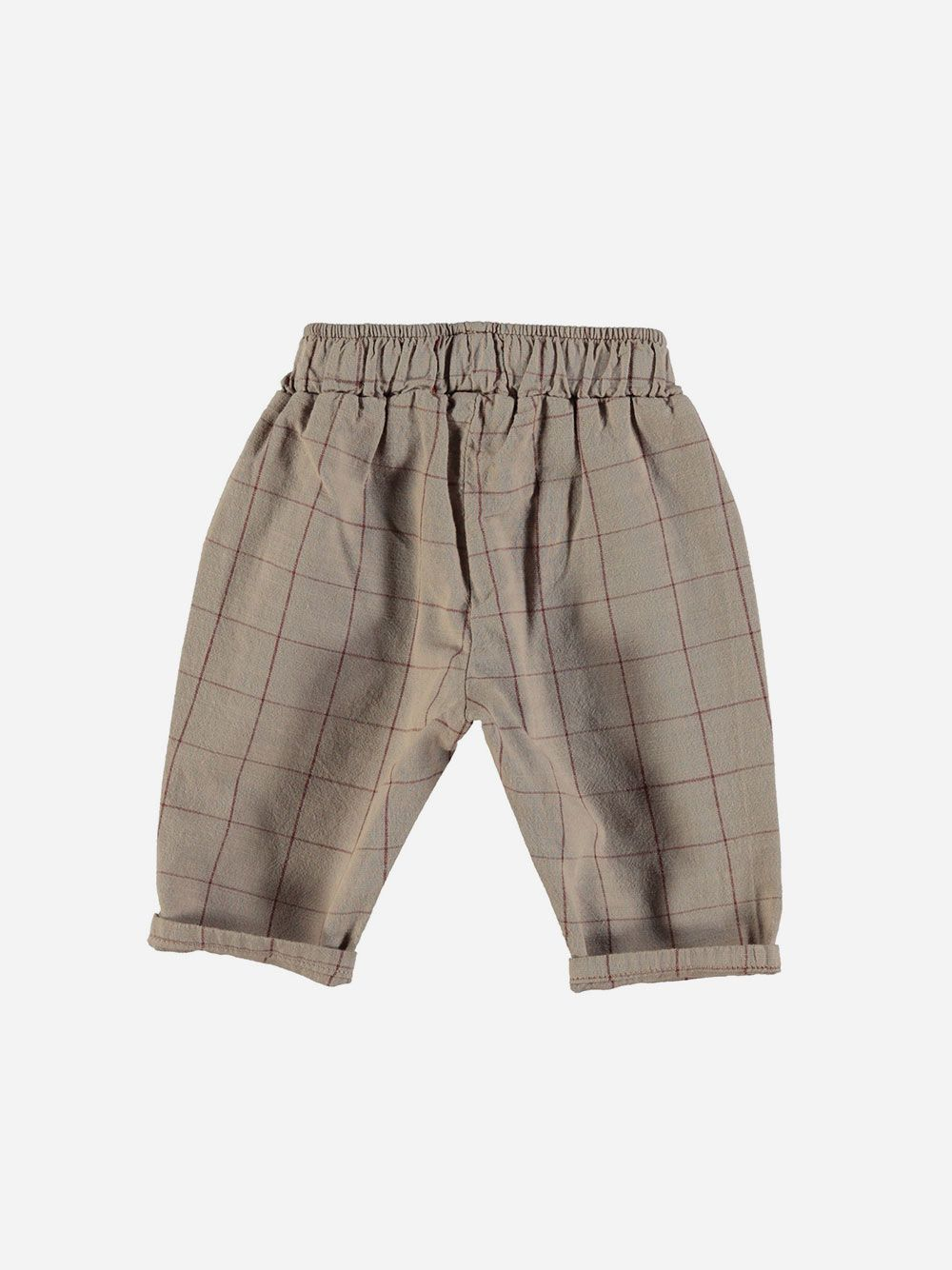 Baby Unisex Trousers Taupe & Garnet Checkered