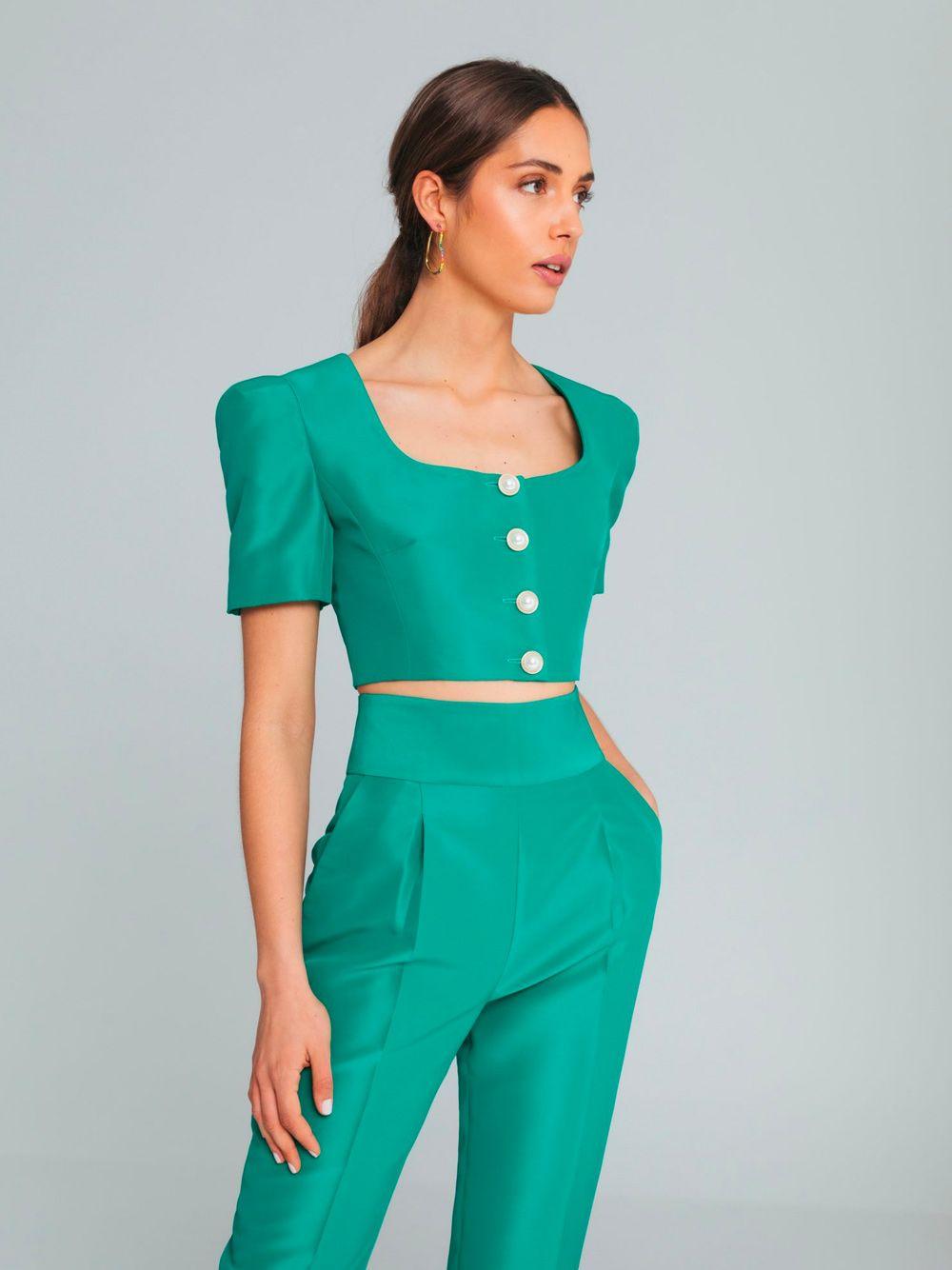 Blusa com Botões Verde