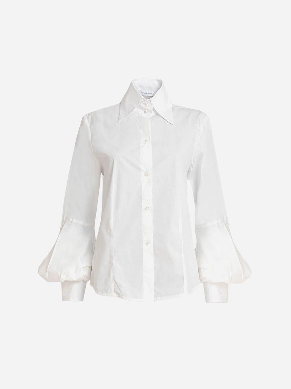 Camisa branca com manga em balão Carolina Machado