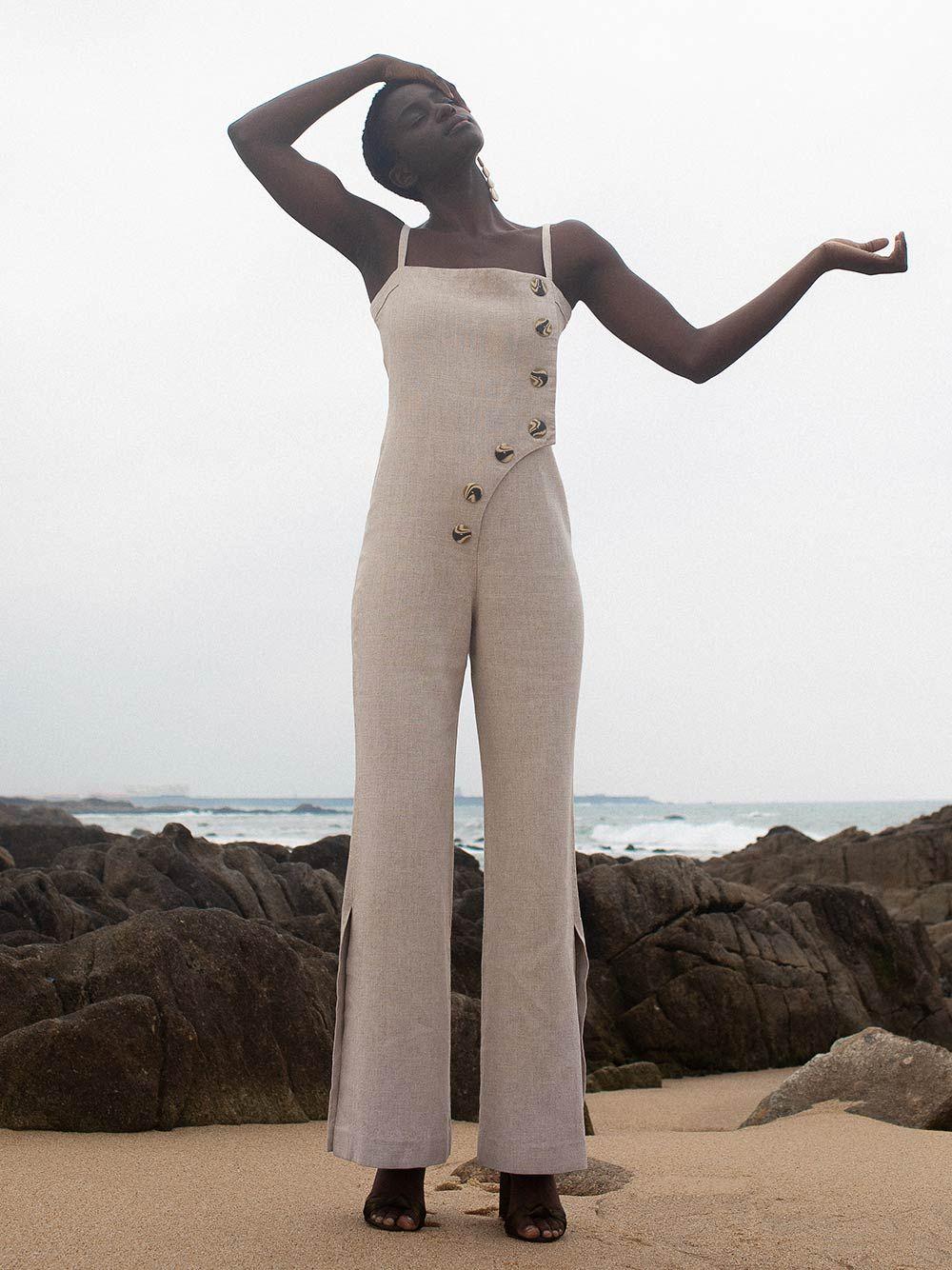Beige Tuscany Jumpsuit | Carolina Machado