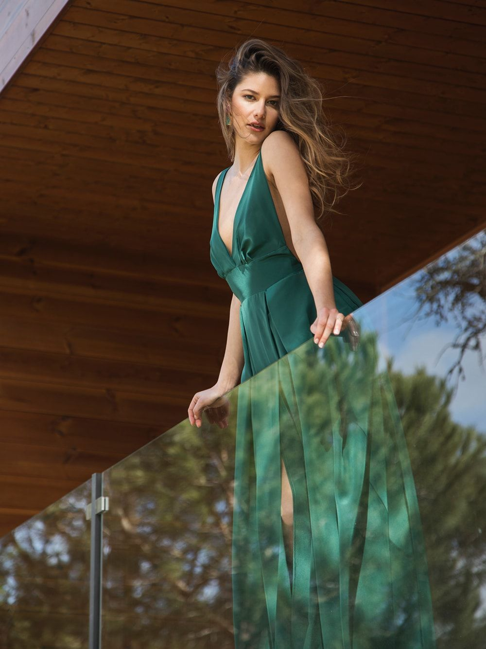 Green Long Dress with Straps | Mauî