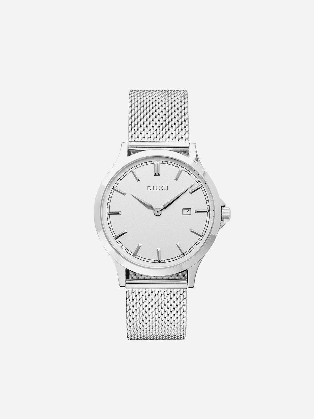 Silver Watch Positano Mesh White   Dicci