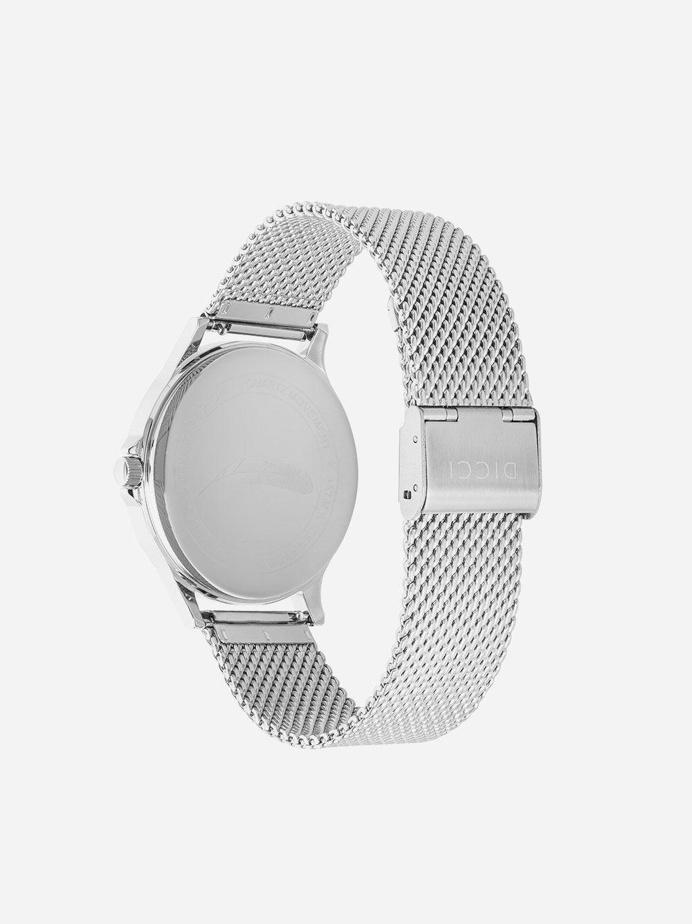 Silver Watch Positano Mesh Black   Dicci