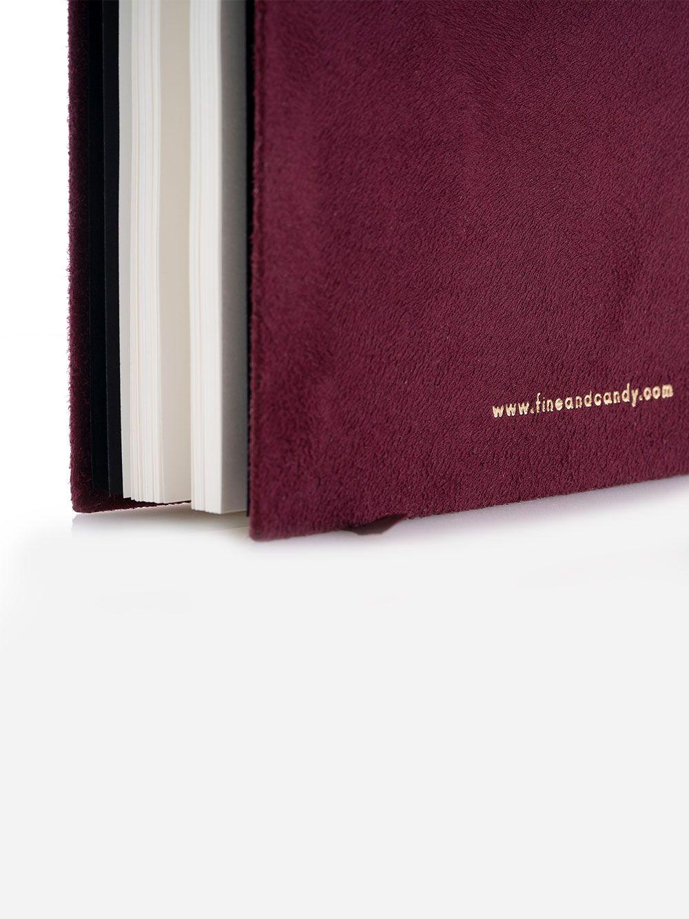 Notebook bordô em capa semi-mole em veludo macio Fine & Candy