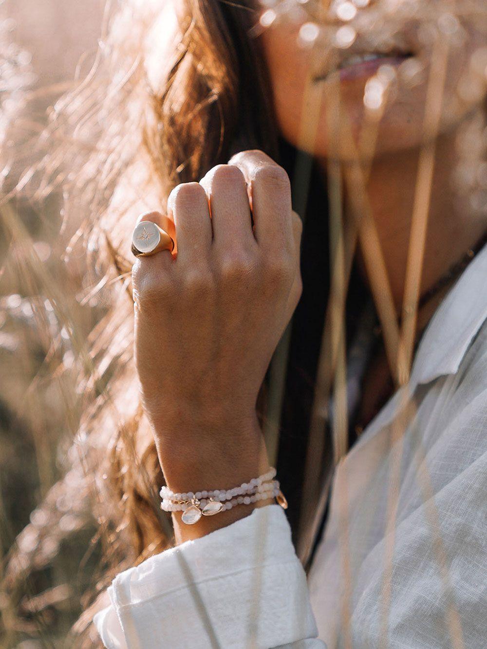 Gold Polar Star Ring   Mesh Jewellery