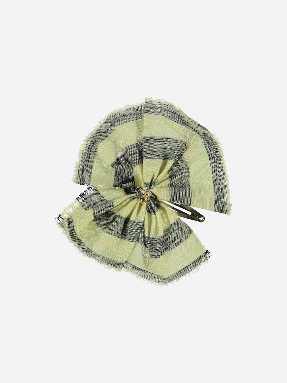 Yellow Hair Clip with Grey Stripes