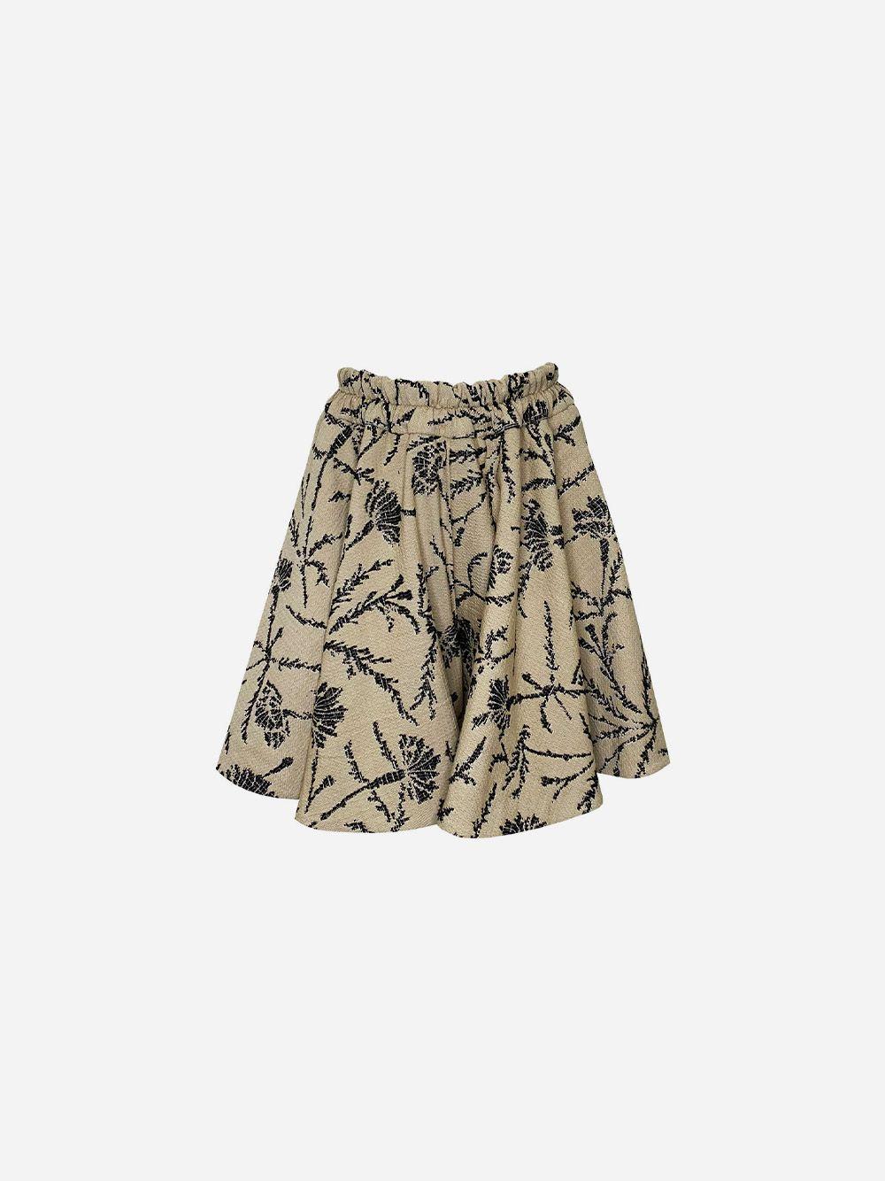 Beige Jacquard Godé Shorts with Side Opening