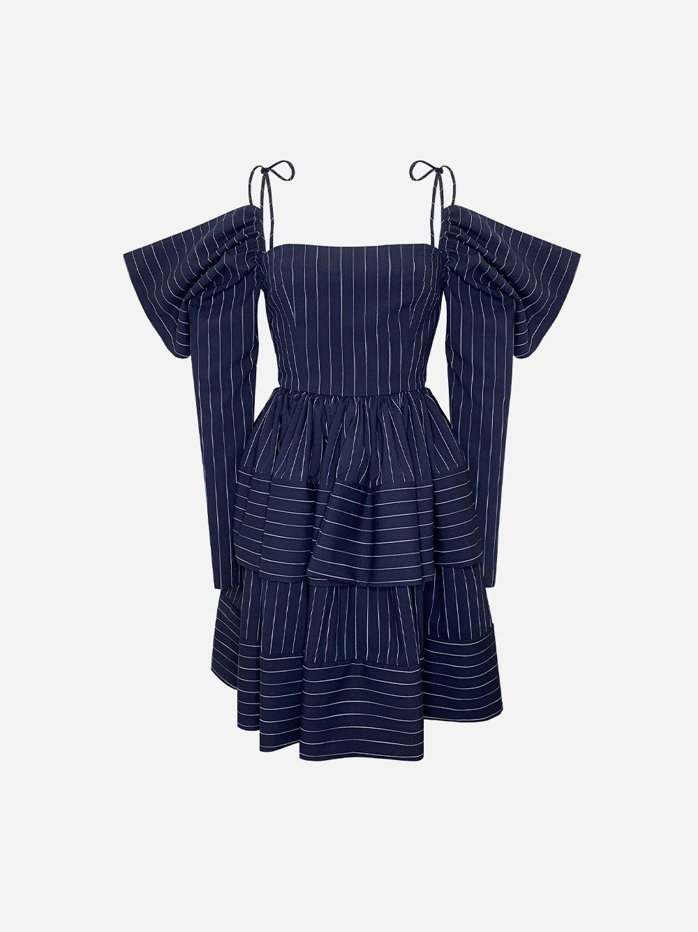 Straps Blue Short Dress with Draped Sleeves