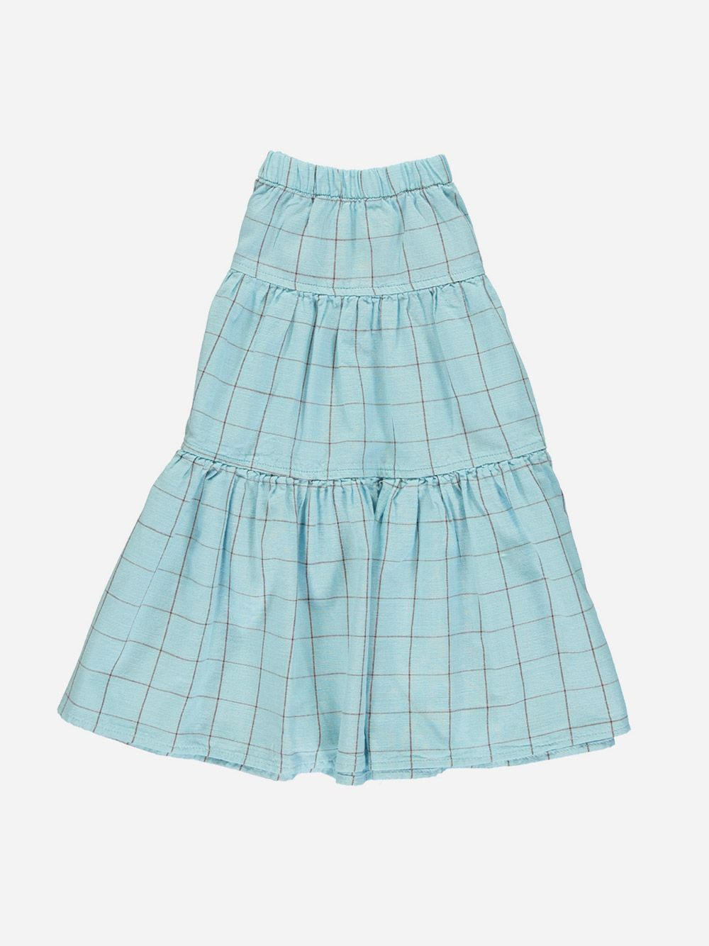 Long Layered Skirt Light Blue & Garnet Checkered