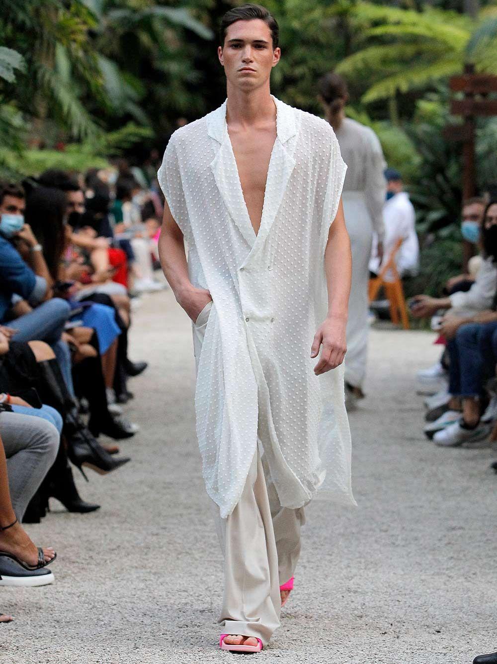 Unisex White Fluid Long Shirt