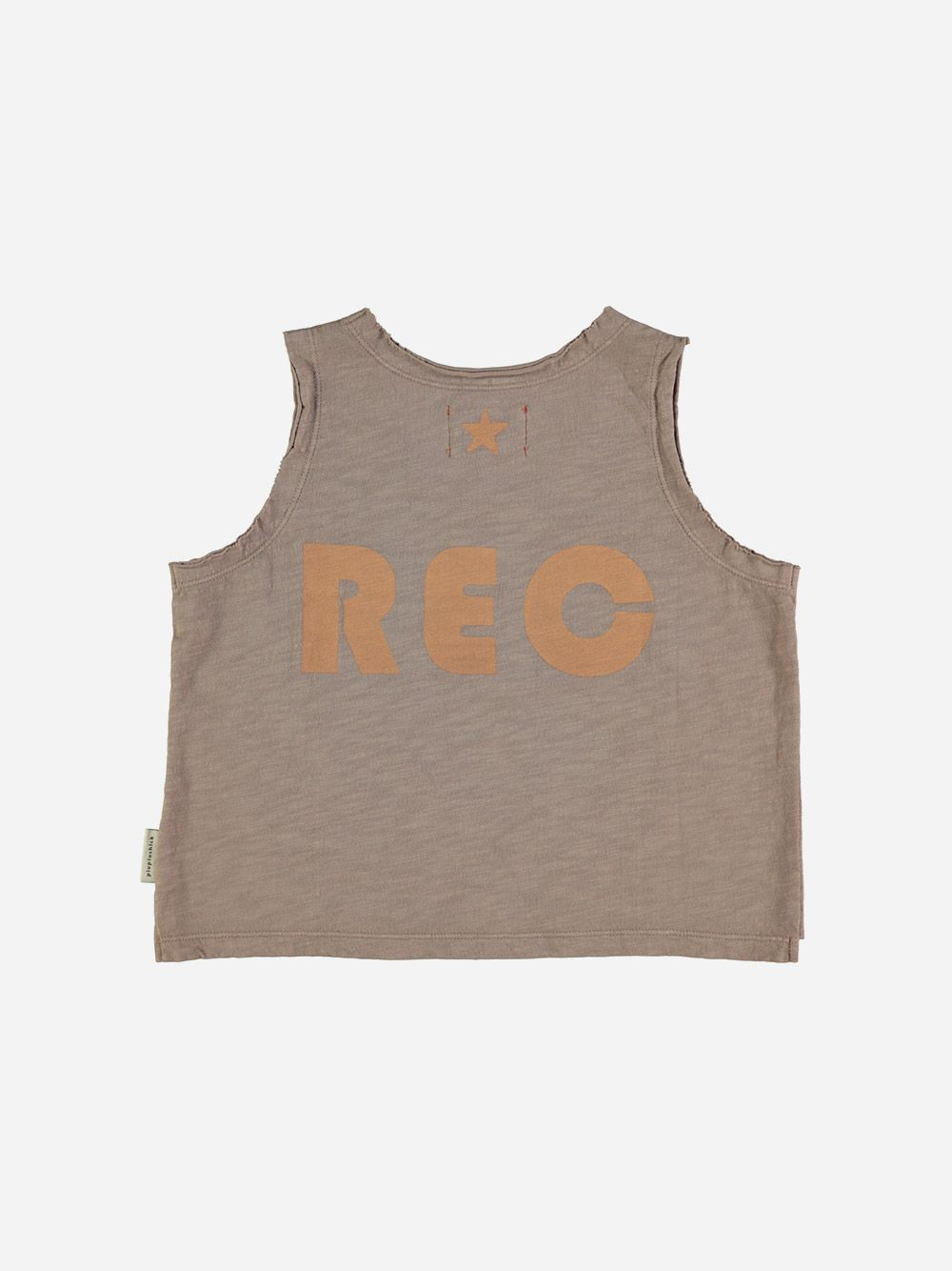 Baby Sleeveless T-shirt Taupe with Peach
