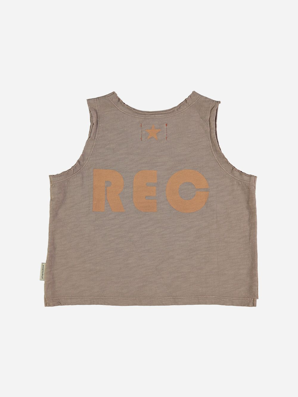 Unisex Sleeveless T-shirt Taupe with Peach