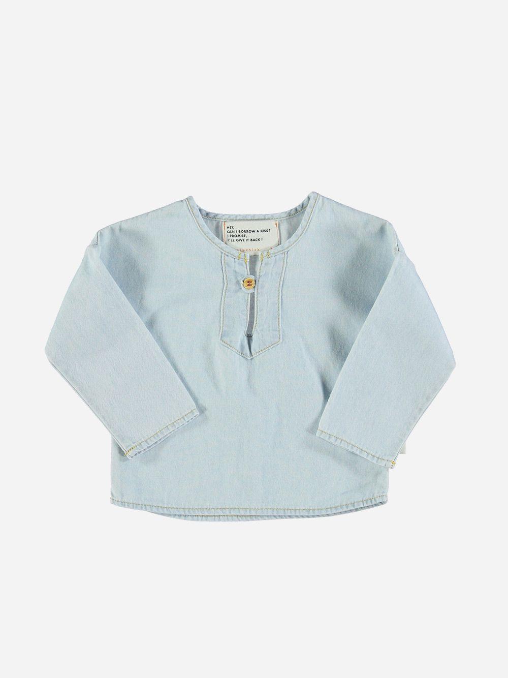 Baby Round Collar Shirt Light Blue Washed Denim