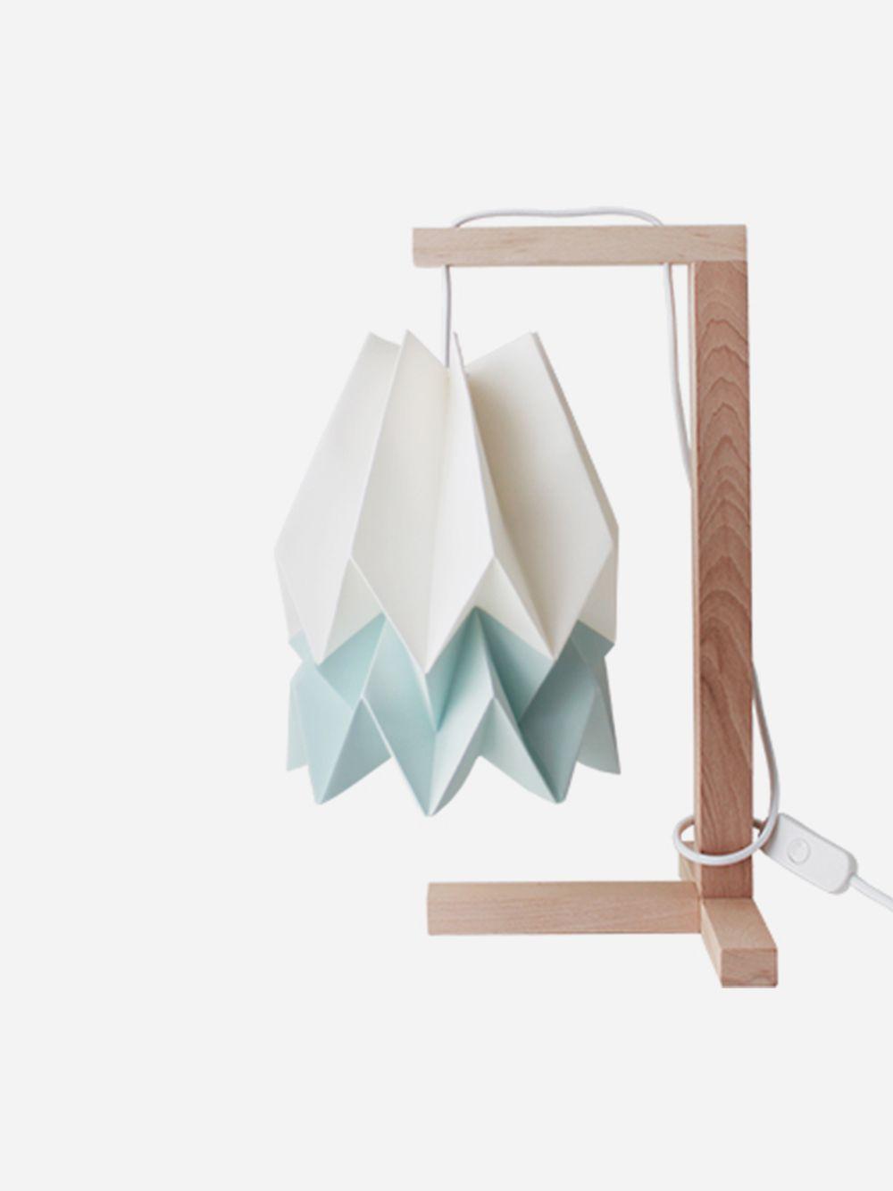 Polar White With Mint Blue Stripe Table Lamp | Orikomi