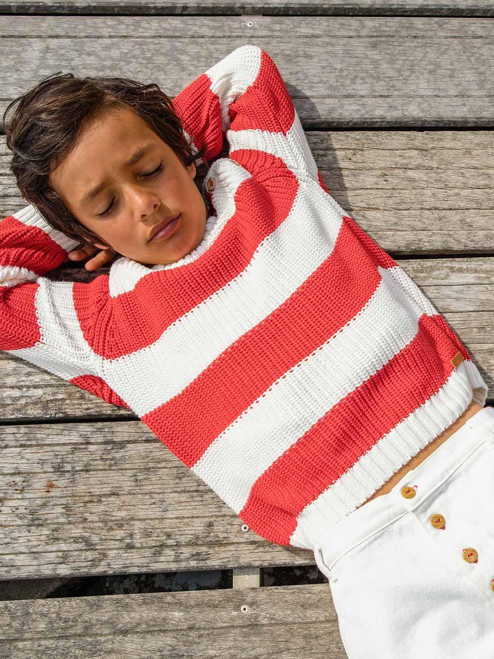 Sweater de Malha Vermelha e Branca   Piupiuchick