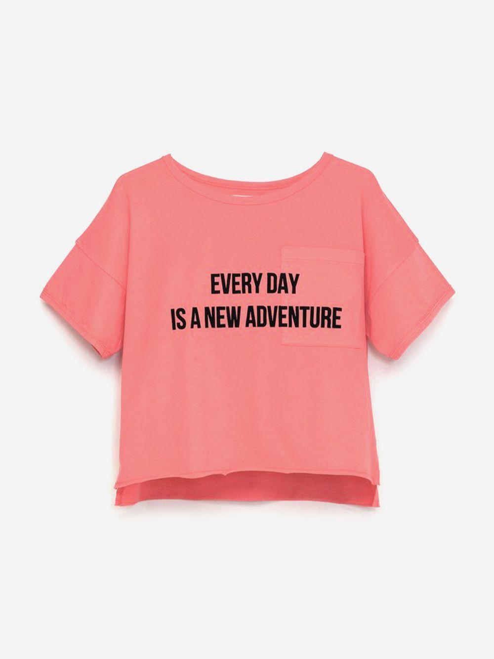 Printed Pocket T-shirt Coral