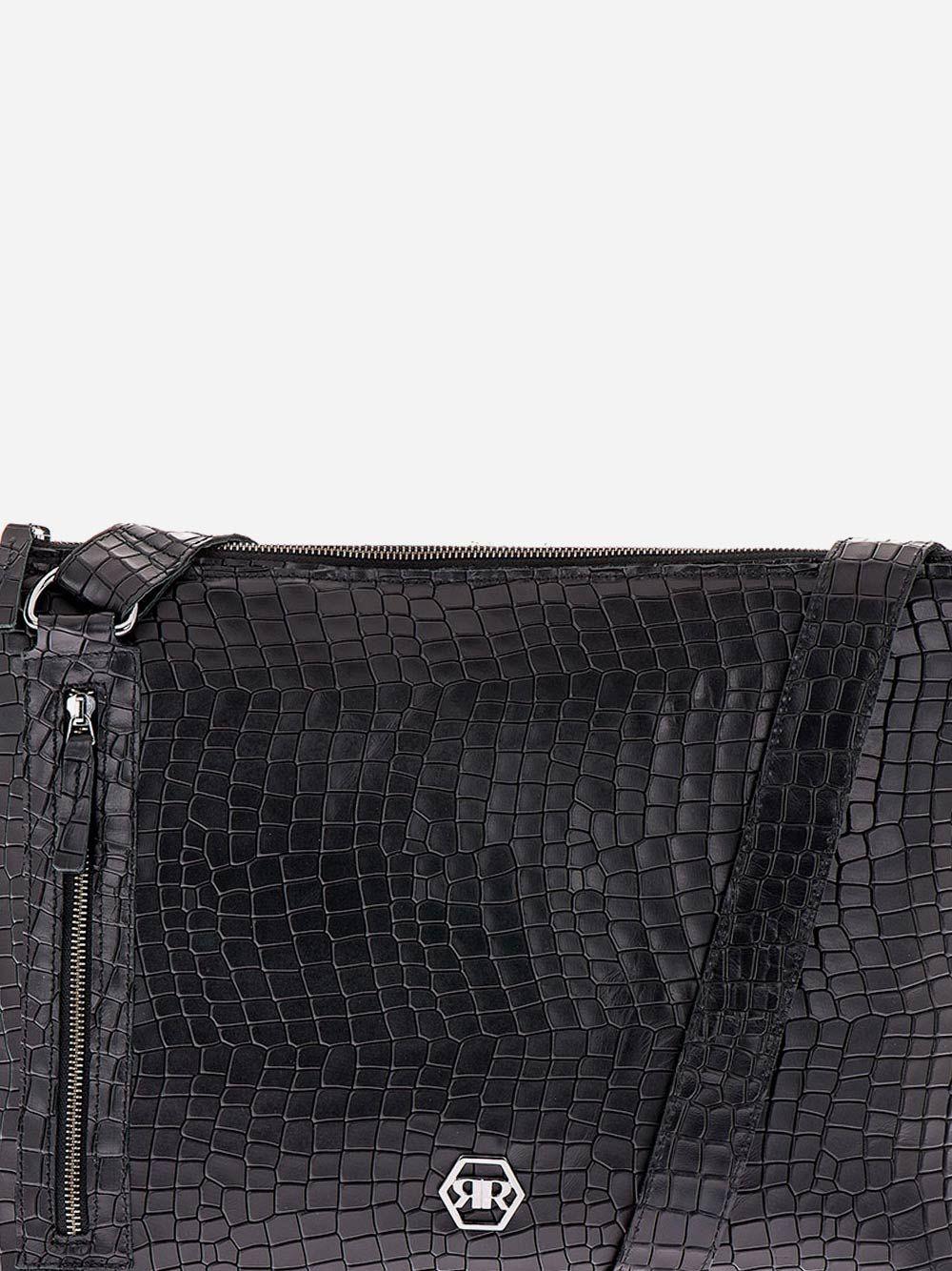 Tiracolo Preto Efeito Crocodilo em Pele | Rufel