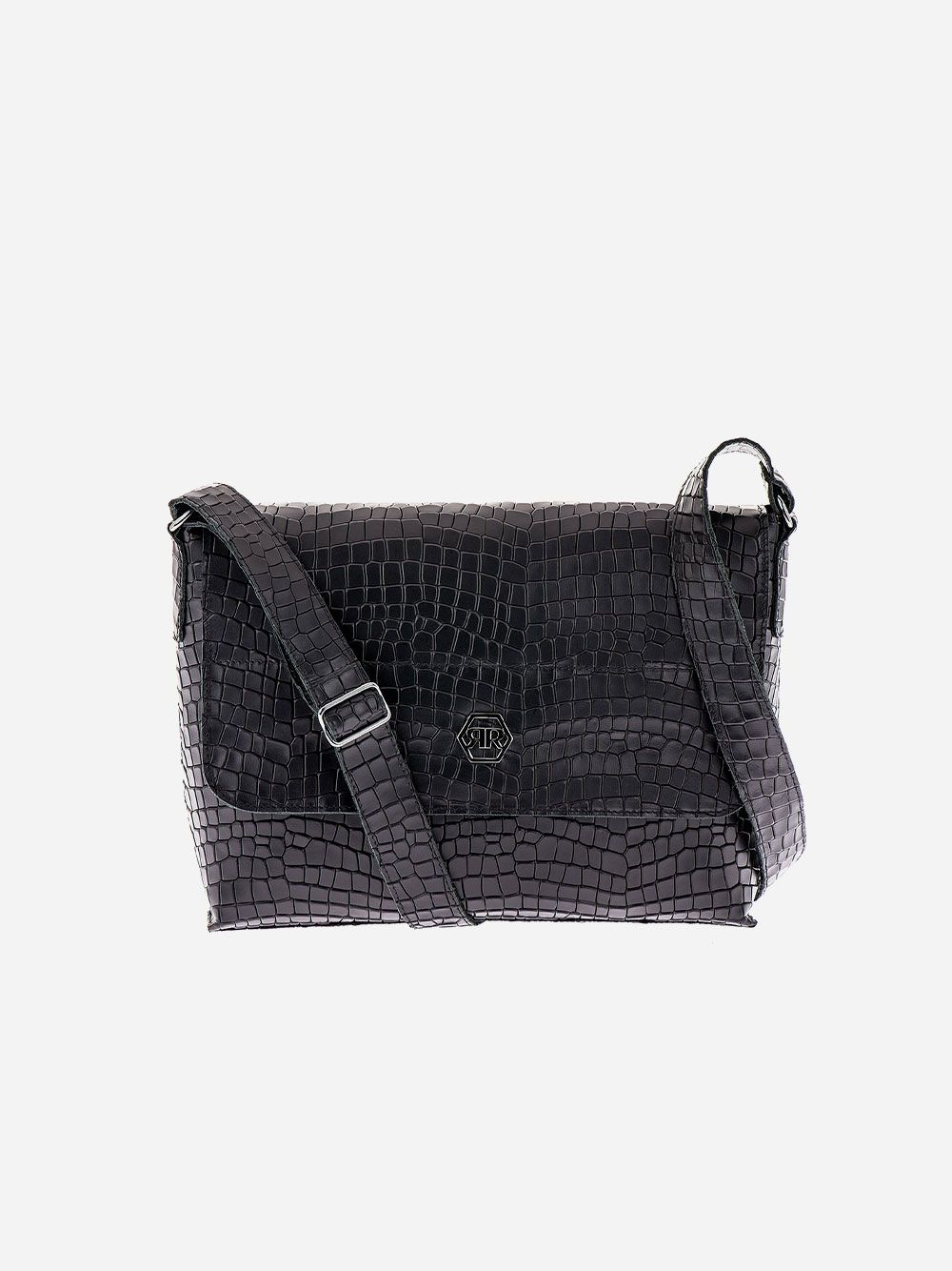 Black Croc Effect Rectangular Crossbody | Rufel