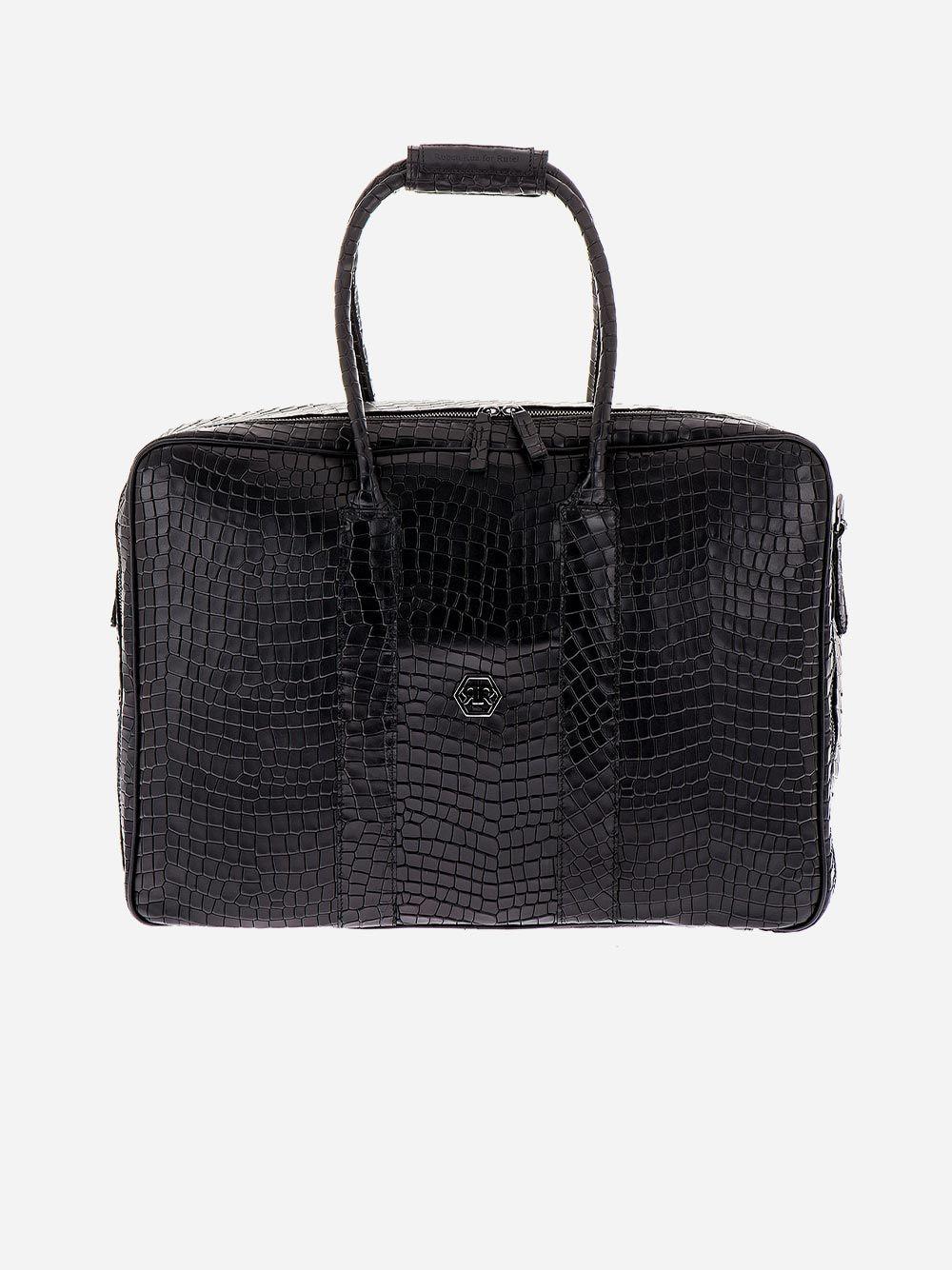 Black Croc Effect Weekend Bag | Rufel