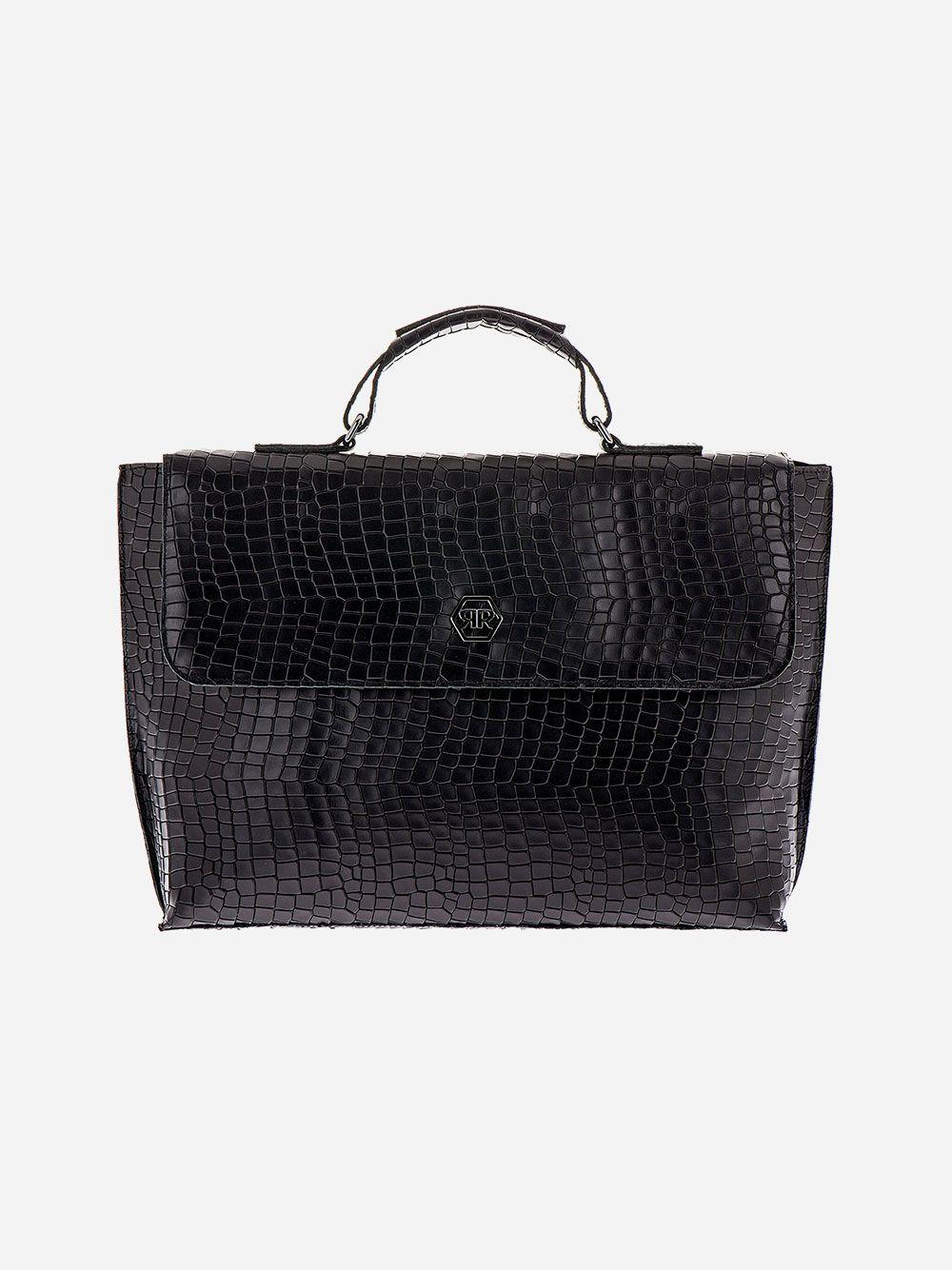 Black Croc Effect Briefcase | Rufel