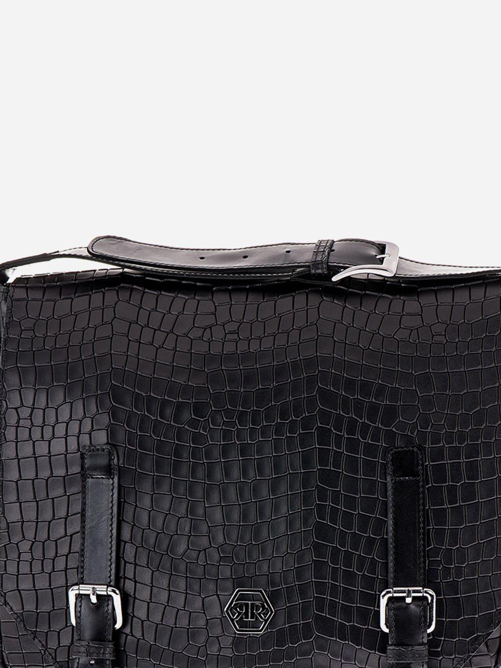 Black Croc Effect Messenger Bag   Rufel