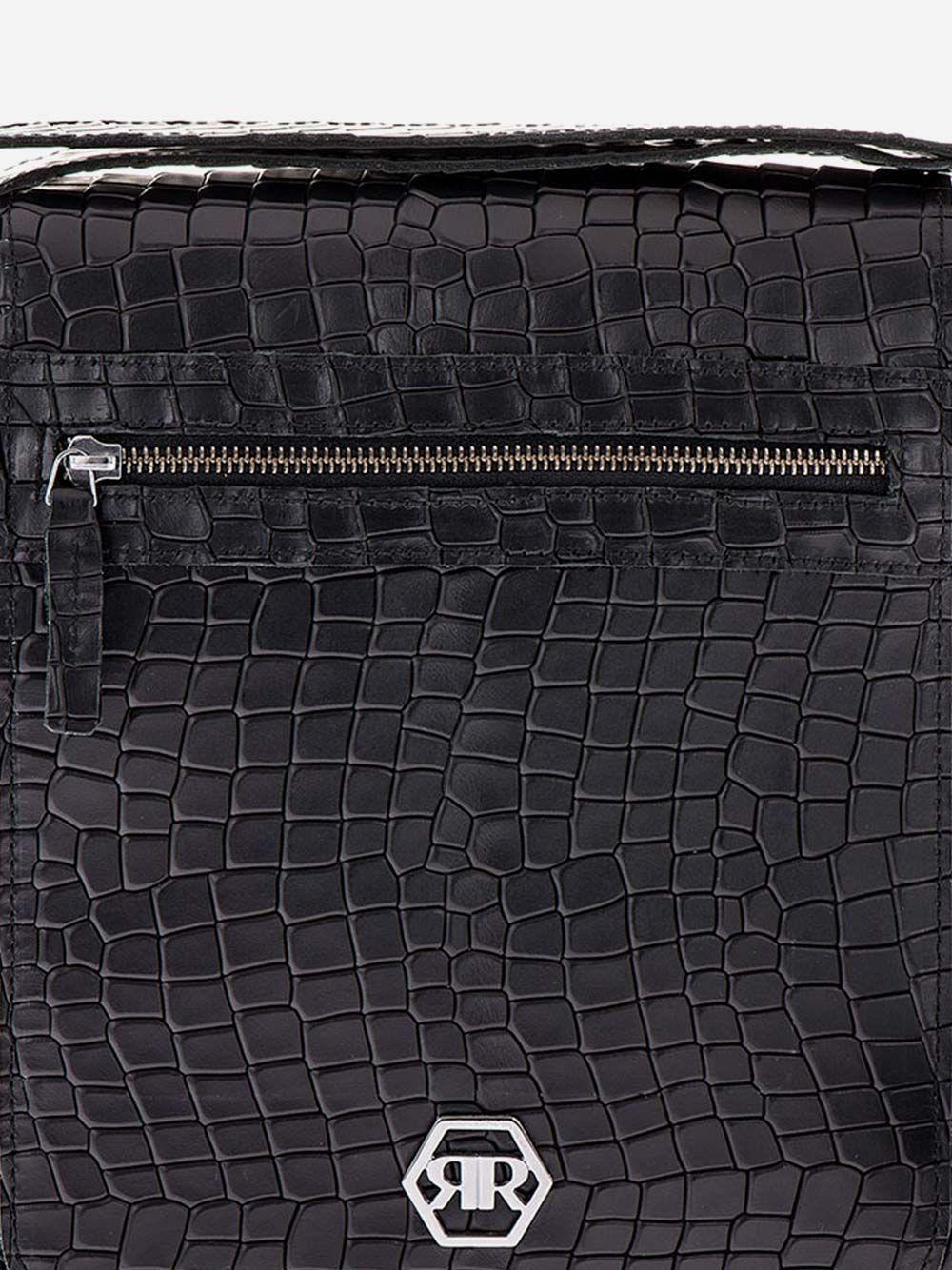 Black Croc Effect Crossbody Bag | Rufel