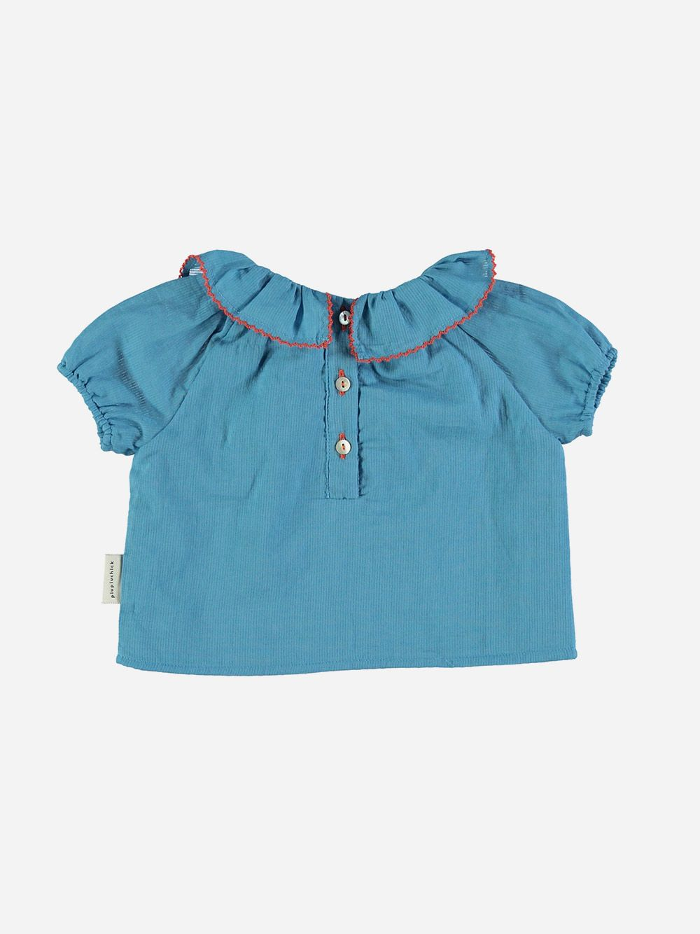Shirt with Round Fringe Collar Deep Blue