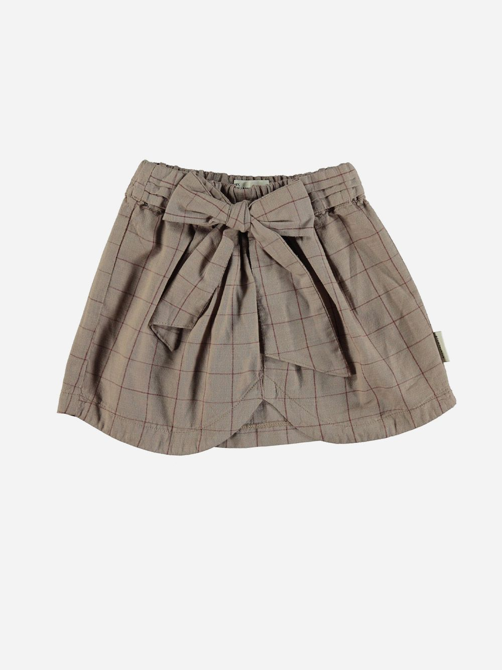 Short Skirt with Bow Taupe & Garnet Checkered