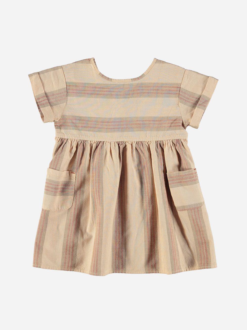 Short Dress Almond & Multicolor Stripes