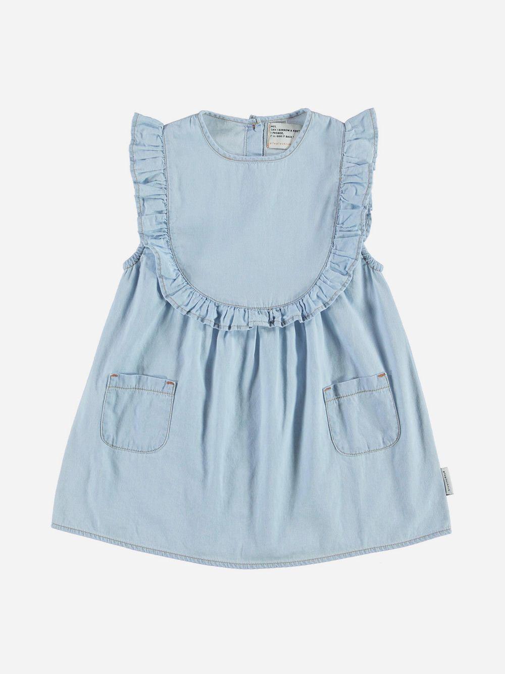 Short Dress with Frill Light blue Denim