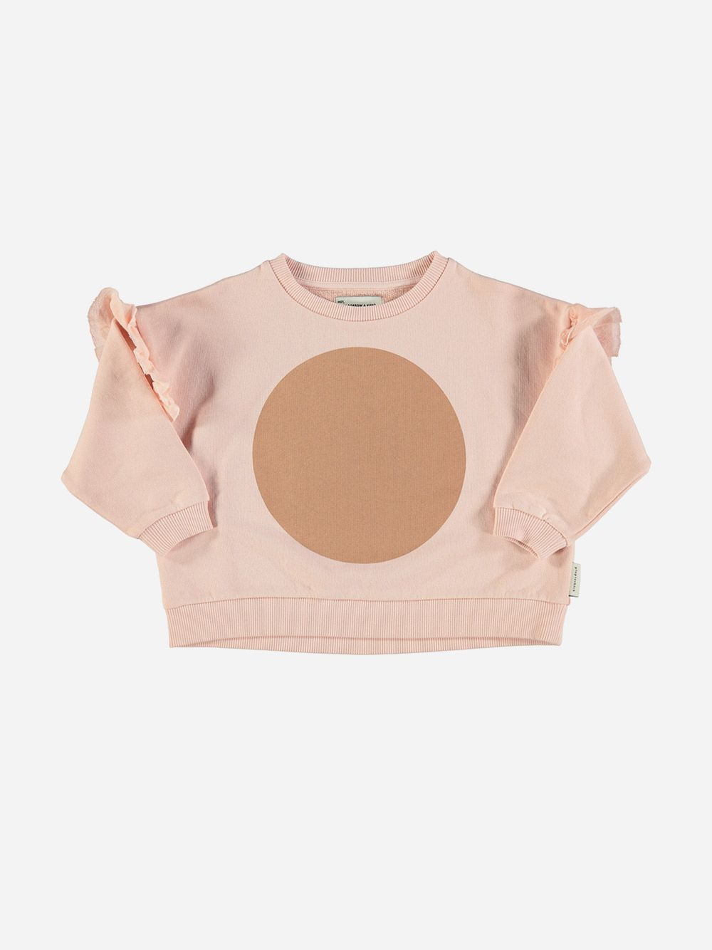 Sweatshirt with Frills on Shoulders Pale Pink