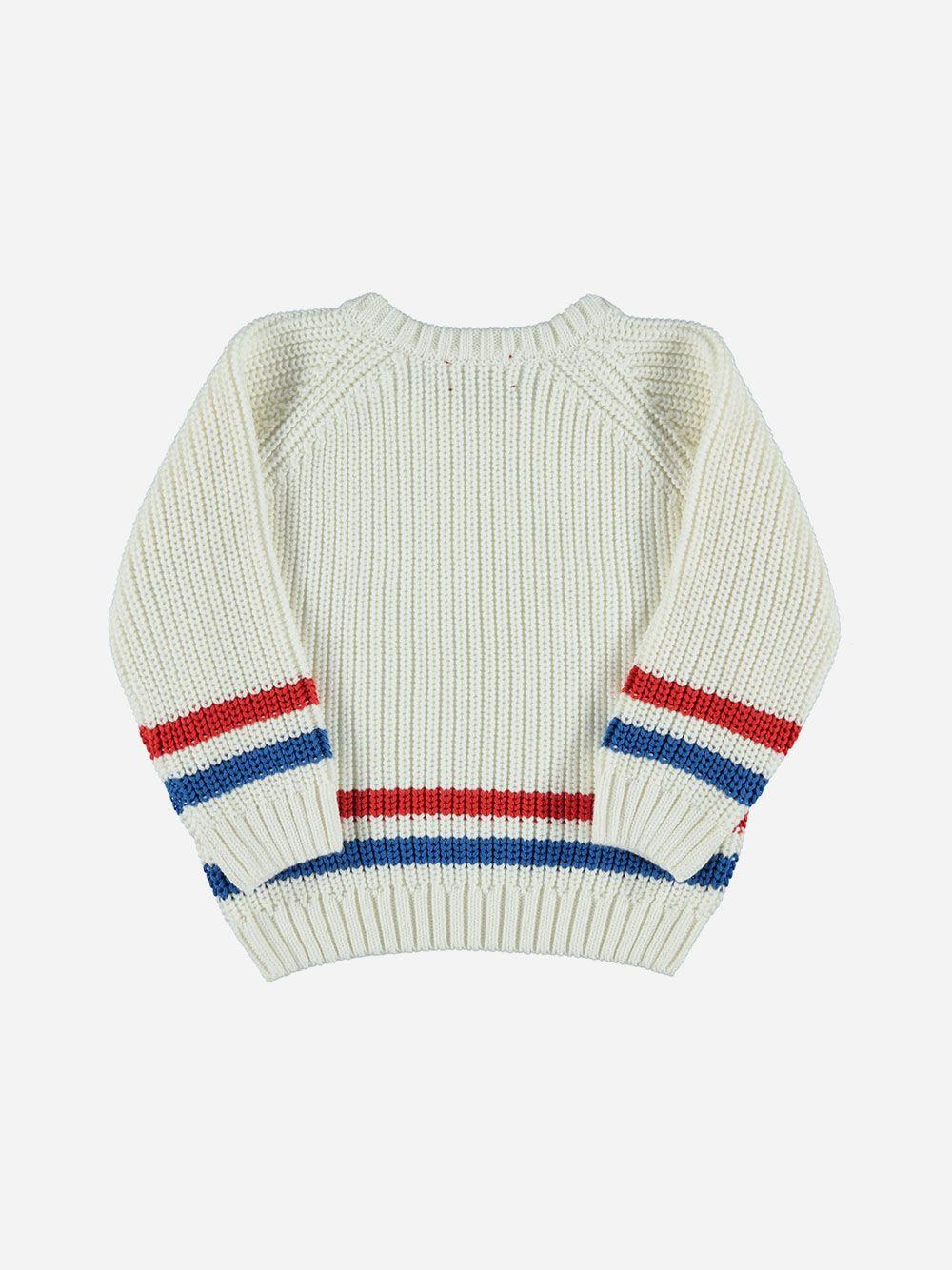 Sweater de Malha Branca com Riscas | Piupiuchick