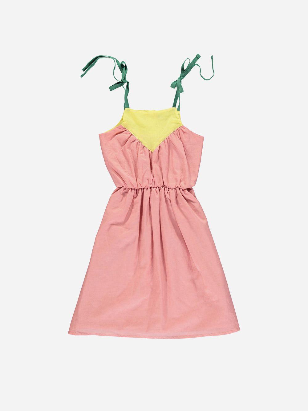 Tricolor Long Dress Vintage Pink