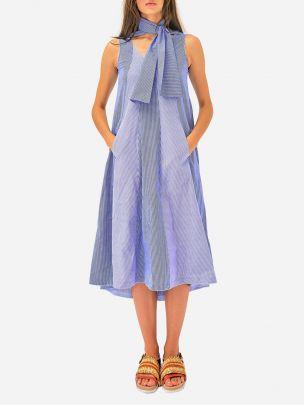 Vestido Azul às Riscas Katty Xiomara