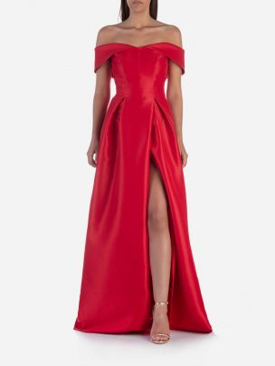Vestido Longo Ombros Descobertos Vermelho