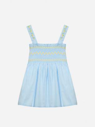 Cotton Satin Blue Dress   Patachou
