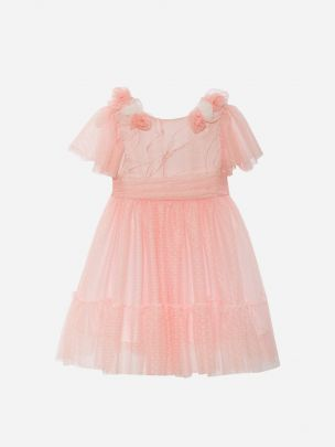 Floral Jacquard & Pink Tulle Dress | Patachou