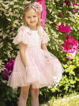 Vestido em Jacquard e Tulle Rosa  | Patachou