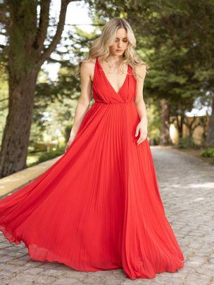 Vestido Vermelho Plissado | Mauî