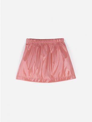 Leather Look Pink Skirt   Andorine